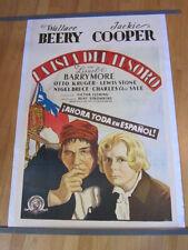 TREASURE ISLAND Wallace Beery  Original 1934 Spanish/US poster LINEN BACKED