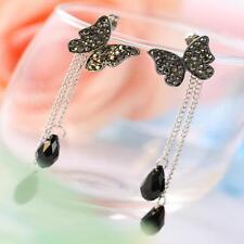 1pair Women Rhinestone Butterfly Drop Long Tassel Ear Stud Earrings Jewelry Hot