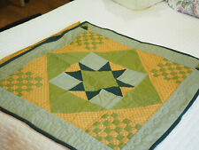 """Vintage Amish type hand quilted machine sewn Quilt top hanging sleeve  31"""" x 31"""