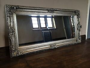 Antique Silver Gilt Ornate Large French Statement Over mantle Wall Mirror 4FT