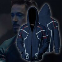 Avengers Endgame Iron Man Hoodie Sweatshirt Tony Zip Jacket Coat Sweater Costume