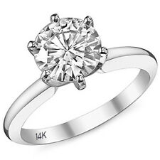 Prong Solitaire Engagement Ring 14K Wg 2.50Ct Women's Solid Round Brilliant 6