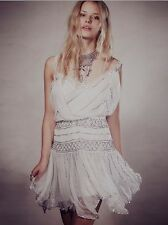 NWT Free People Mint Green Ode To Tea Shimmer Dress Beaded Chiffon Lace,L
