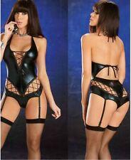 Women's Dominatrix Faux Leather Teddy Lingerie Erotic Garter Model Stripper New}