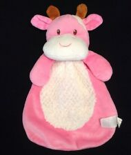 Baby Gear Bright Pink Cow Lovey White Fur Belly Security Blanket Baby Hand Toy