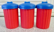 ALLEY CATS ~ 3 SPARE RED DUSTBINS WITH BLUE LIDS