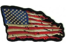 """(H19) TATTERED US FLAG Red/Wht/Blue 4"""" x 3"""" iron on patch (5139) Biker Patches"""