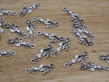 10 pc Silver Tone SQUID Charms 25mm. cephalopod octopus steampunk. USA seller!