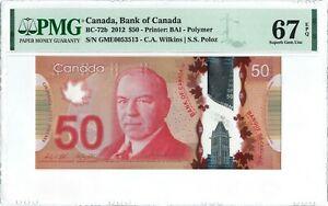 Canada 50 Dollars BC-72b 2012 PMG 67 EPQ s/n GME0053513 Polymer
