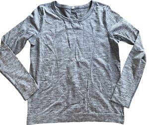 LULULEMON Swiftly Tech Long Sleeve Breeze size 8 Slate White Relaxed Fit EUC Run