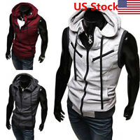 New Men's Fashion Casual Sleeveless Slim Fit Hooded Hoodies Vest Waistcoat US