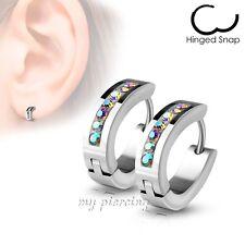 Pair Lined Gem Set Oval Shape IP Surgical Stainless Steel Hoop Huggie Earrings