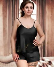 Nine X Ladies Satin Cami Set Plus Size Lingerie Babydoll 8-24 Pyjama Bride 20 Black