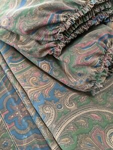 RALPH LAUREN BRIANNA ELIZABETH PAISLEY QUEEN FLAT & FITTED SHEETS vintage brown