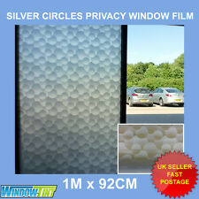 SILVER CIRCLES PRIVACY FROSTED WINDOW FILM - 92cm x 1m Roll S019
