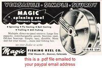 MAGIC FISHING REEL Owners Instruction Manual, pdf Copy, Denver Colorado Fly Fish