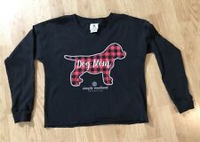 NEW Simply Southern Long Sleeve Cropped Black T Shirt Dog Mom Women's Small