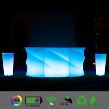 LED Lounge Bartheke WAVE ICE Bartresen Counter Bartisch mit LED Akku Beleuchtung