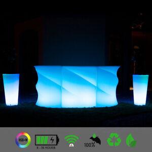 LED Lounge Bartheke WAVE ICE Bartresen Counter Bartisch mit LED Akku Beleuchtung