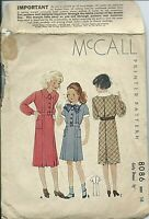 M 8086 sewing pattern 30's classy DRESS short or long sleeves sew girl's size 14