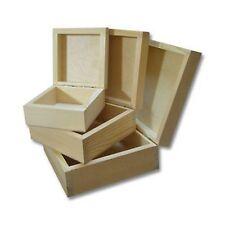 NUOVO Legno Plain in legno Set di tre caselle di gioielli 3 in 1 untreatd cassetta di legno