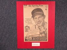 STAN MUSIAL (Died-2013) Signed Index Card w/16x20 Display/1948 Chesterfield  Ad