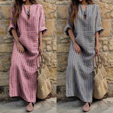 US Stock Plus ZANZEA Womens Striped Split Long Sleeve Kaftan Maxi Long Dress New