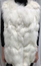 New With Tags ST JOHN women's luxury genuine WHITE FOX FUR VEST coat top M $1665
