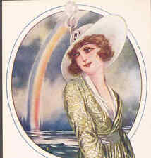 (6) SET..SANTINI GLAMOUR LADY POSTCARDS,RAINBOW,ROSES