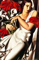 """Hand painted oil painting female portrait lempicka-portrait-de-madame canvas 36"""""""