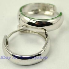 "0.78"" 6g SMOOTH CIRCLE CLASSICAL 18K WHITE GOLD PLATED HOOP EARRINGS SOLID GP"