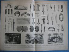 ETA ANTICHE DEL BRONZO ARMA PUGNALE COLTELLO ACCETTA MAZZA stampa antica 1892