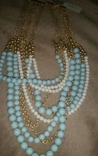 multi chain beaded necklace. Nwt Talbots necklace. Light blue, white &gold