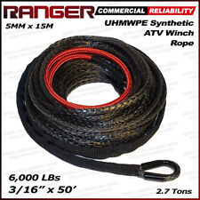 "Ranger 3/16"" x 50' UHMWPE Synthetic Winch Rope 5 MM x 15 M for ATV Winch"