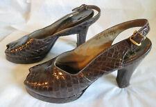 New listing Vintage 1940s Shoes Alligator Peep Toe Platforms Sling Backs