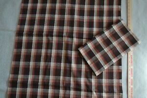 """Wool-like synthetic fabric 54"""" x 1.75 yards total, brown & rust plaid"""