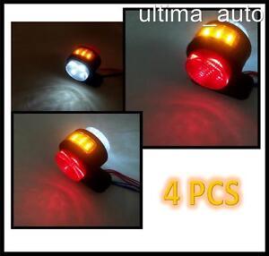 4 X 12V SIDE AMBER RED WHITE MARKER LIGHTS 4 SMD LED TRUCK TRAILER CHASSIS