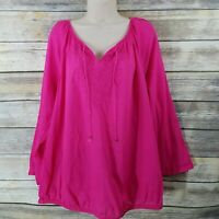 Lane Bryant Size 16 Peasant Blouse Hot Pink Embroidered Tie Front Banded Hem