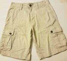 Mens AMERICAN EAGLE khaki beige classic cotton cargo shorts 30 NEW logo flat