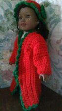 """Handmade doll clothes for 18"""" American Girl doll crochet duster hat, coat"""