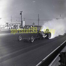 Front Engine Dragster Irwindale Raceway Burnout - Vintage Drag Race Negative