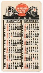 "Vintage 1955 Pocket CALENDAR CARD Missouri Pacific Lines DOG ON ""RIGHT TRACK"" ^"