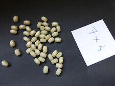 petit lot de 60 PERLES en VERRE ANCIENNE tilleul beige ovale facette 7 x 4 mm