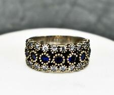 Deco .41ctw Blue & White Sapphire 14k Yellow Gold / .925 Sterling Silver Ring