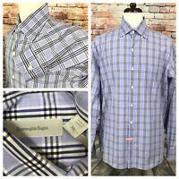 Ermenegildo Zegna Men's Shirt Size XL Blue Plaid Button Down Long Sleeve