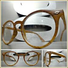 Men's CLASSIC VINTAGE RETRO Style Clear Lens EYE GLASSES Faux Wood Wooden Frame