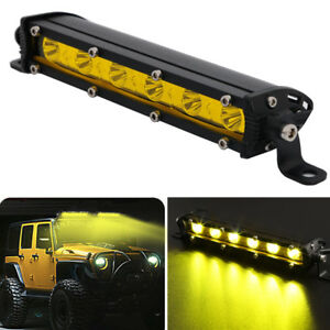 "7""nch Yellow 18W Spot Slim Led Work Light Bar Single Row Offroad Lamp Driving"