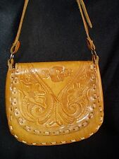VINTAGE TOOLED LEATHER FLORAL MONOGRAMED DGM   HIPPIE SHOULDER BAG PURSE