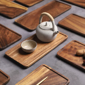 Rectangle Wooden Tea Tray Serving Table Plate Snacks Food Storage Dish for Home