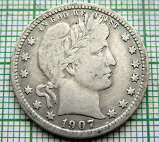 UNITED STATES 1907 BARBER QUARTER - 25 CENTS, SILVER